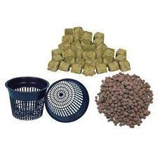 "(6) 3"" Net pots, Clay Pebbles and Grodan 1.5"" Rockwool Cubes Hydroponic Grow Pot"