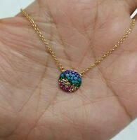 14k Gold Sterling Silver Swarovski Crystals Circle Charm Necklace