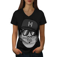 Wellcoda Rapper Gangster Music Womens V-Neck T-shirt, Urban Graphic Design Tee