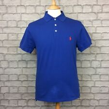 POLO RALPH LAUREN MENS UK M COBALT BLUE SLIM FIT POLO SHIRT SMART CASUAL TOP