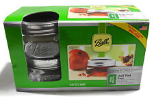 4 Ball Half Pint Jars Wide Mouth Clear Glass Collection Elite Design Series.1211