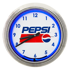 """Pepsi 15"""" Retro Style Blue Neon Tube Clock - Includes Power Cord And Battery!"""