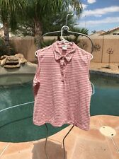Woman's Nike Golf Pink Striped Tank Top Shirt Xl 16-18 Fit Dry
