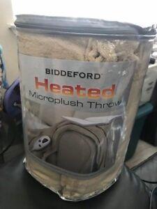 Biddeford Heated Microplush Throw Blanket Tan New!!!