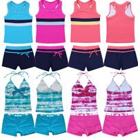 Baby Kids Girls Halter Tankini Swimsuit Swimwear Swimming Costume Bathing Suit