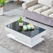 High Gloss Rectangular Coffee Table Hidden Drawer Living Room Furniture Modern