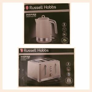 Russell Hobbs Inspire cream Kettle And 4 Slice Toaster set
