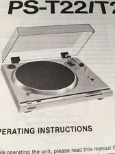 "Sony PS-T22 Turntable ""Original"" Owners Manual 7  Pages  pst22 A16"