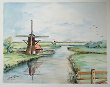 paysage de hollande - aquarelle signé paul gardette - moulin