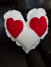 HandMade Decor White Red Patch Heart Shaped Throw Pillow Valentin Shabby Cushon