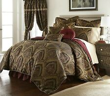 Deluxe New 9 pcs Gold/Maroon  Oversized Paisley Comforter Set Cal King Queen
