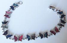 bracelet vintage maillon papillon en nacre abalone couleur argent rhodié 4465