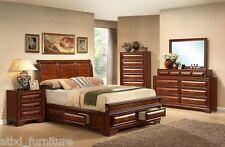 Oak King Storage Sleigh Platform Bed Set Furniture