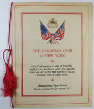 The Canadian Club of NY Gala Program Disabled Americans World War 1932
