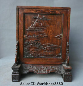 """13.2"""" Old China Huanghuali Wood Dynasty pavilion landscape Storage Box container"""