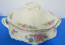 Homer Laughlin Round Covered Casserole Serving Dish Floral Porcelain Gold Trim