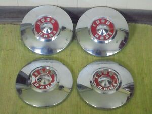 """55 56 Ford Dog Dish HUB CAPS 10 1/2"""" Set of 4 Hubcaps Red 1955 1956"""