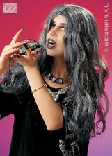 Ladies Long Grey Witch Wig Horror Halloween Vampire Morticia Bride Fancy Dress