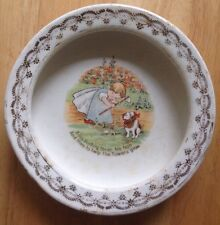 1900s - 1920s BABY BUNTING WITH HOE and DOG CHILD'S DISH, D. E. McNICOL, VINTAGE