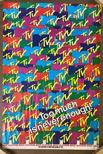 MTV Original Vintage Poster Music Television Memorabilia 1980s TV Never Too Much