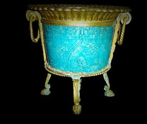 Antique Chinese Bronze Ormolu Mounted Glazed Porcelain Bowl Planter Jardiniere.