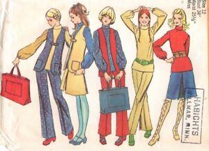'70s Vintage Sewing Pattern Misses' Top Vest Pants Skirt Tote Bag Groovy Style