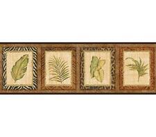 Wallpaper Border Designer Palm Leaves in Animal Print Frames with Black Trim