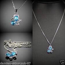 Swarovski ElementOriginal Design Silber Klassik Halskette Blau Falter Etui58
