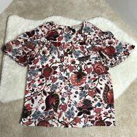 Loft Women Floral Multicolor ShortSleeve Blouse Size XS