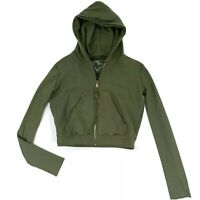 Frank & Eileen Tee Lab Frayed Zip Front Hoodie Size Small Womens Green Cropped