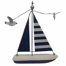 Seaside Nautical Theme White & Blue Sailing Boat with Spinning Seagulls 17x13cm