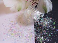Nail Art Chunky *FroSt* White Colour Change Hexagon Glitter Spangle Mix Pot Tips