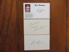 RAY  BOONE/DICK  ROZEK/BLAS MONACO  Signed  Index  Cards(Each  player  is  dead)