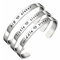 Big Sis Middle Sis Little Sis Sister Cuff Bangle Best Friend Open Cuff Bracelets