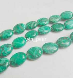 12x16mm Green Turquoise Oval Gemstone Loose Beads 15''