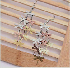 ROSE GOLD, SILVER DRAGONFLY DANGLE EARRINGS