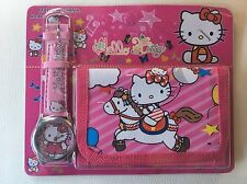 Childrens Girls Rocking Horse Hello Kitty Cat Purse Wallet Watch Toy Gift Set 3