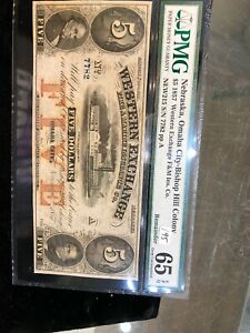 LARGE 1857 $5 DOLLAR OMAHA CITY BISHOP HILL COLONY NOTE PMG 65 EPQ