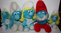 Vintage Lot of 5 Stuffed Plush Smurfs Papa Smurf Smurfette Hug Smurf 1970's