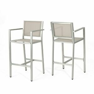 Christopher Knight Home Tammy Coral Outdoor Grey Mesh 29.50 Inch Barstools