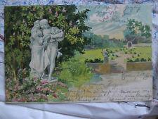 Prägung Paar Blumen Statue Garten Gemälde Kunst Postkarte Ansichtskarte 3479