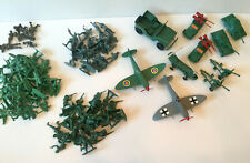 GIANT LOT VINTAGE US & GERMAN TOY SOLDIERS PLASTIC ARMY MEN 1980 Grey Green tank