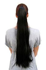 Postiche/TRESSE,EXTRÊME LONG,lisse tombant,NOIR,épingle à cheveux-papillon,70 cm