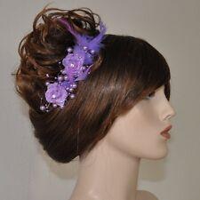 2 Pcs Hair clip LIGHT PURPLE Buttonhole Flower Beads Feathers Rhinestone