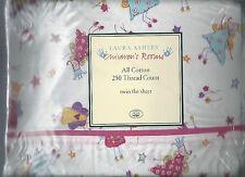 Laura Ashley Fun Fairies Pink Twin Flat Sheet White Pink Blue Yellow  New