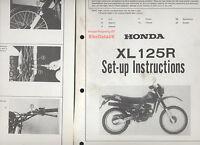 Honda XL125R (1982-1985) Original Factory PDI Set-Up Manual XL 125 R JD04 CA99