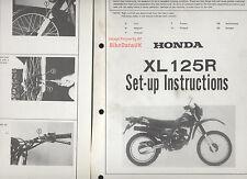 Genuine Honda XL125R (1982-on) Dealership Set-Up Manual XL 125 R Pro-Link JD04