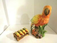 """Hand Painted Tropical Parrot Cookie Jar 12"""" Tall Ceramic 4 Napkin Holders"""