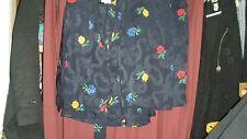 Vintage Hanae Mori Paris Silk 80's Set-Wrap Skirt/Wrap Top-Navy w/Floral-40/10