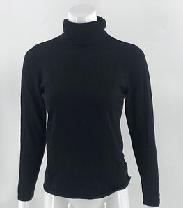 Joseph A Womens Turtleneck Sweater Size Medium Black Ruched Solid Pullover Top